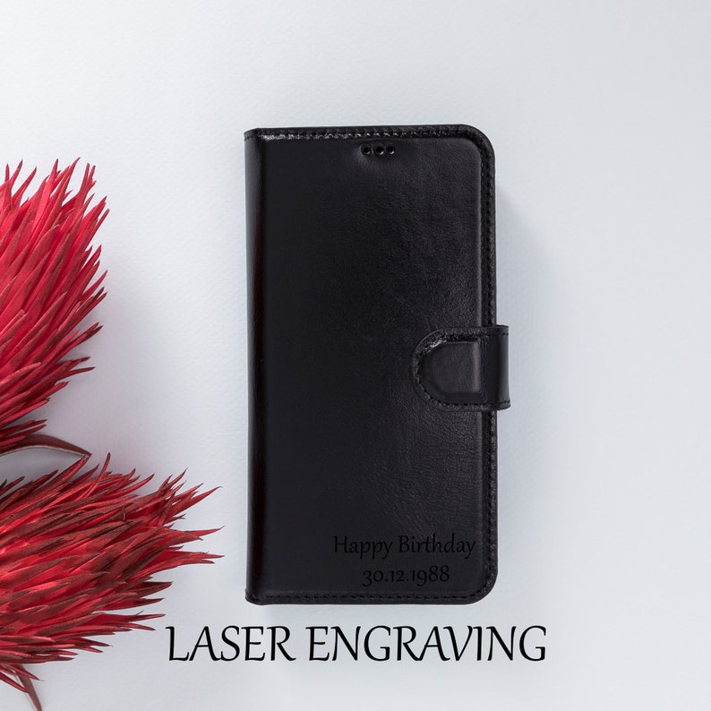iPhone 12 Mini 5.4 Handmade Wallet Stand Function Laser Engrave  BLACK Personalized Case iPhone 12 Mini Magnetic Detachable Back Cover