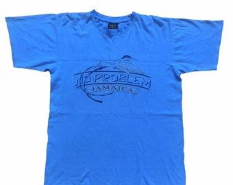 f2dabe7c Vintage Jamaica No Problem Souvenir Blue Graphic T-Shirt