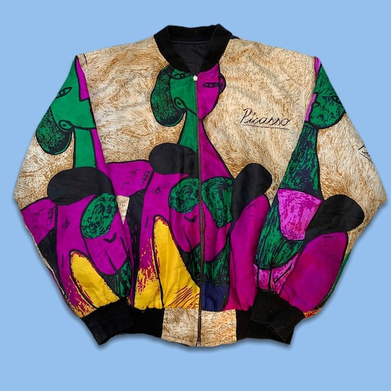 Vintage 80s Picasso All Over Print Bomber Jacket