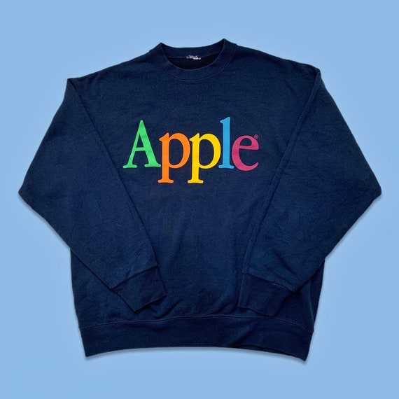 Vintage 80s Apple Computers Rainbow Spellout Sweat