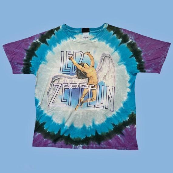 Vintage 90s Led Zeppelin Liquid Blue T Shirt