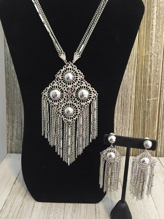 Beautiful 1980's Huge Silver Boho Pendant Necklace