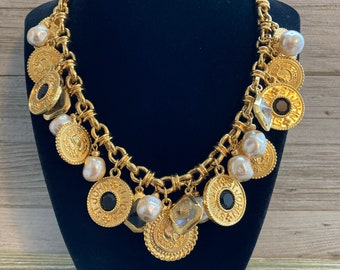 Magnificent ST.JOHN Signed Vintage 1990's Gold Etruscan Couture Charm Statement Collar Necklace With Faux Pearls & Black Rhinestones