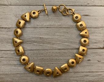 ANNE KLEIN Vintage 1990's Matte Gold Modern Geometric Classic Statement Collar Necklace