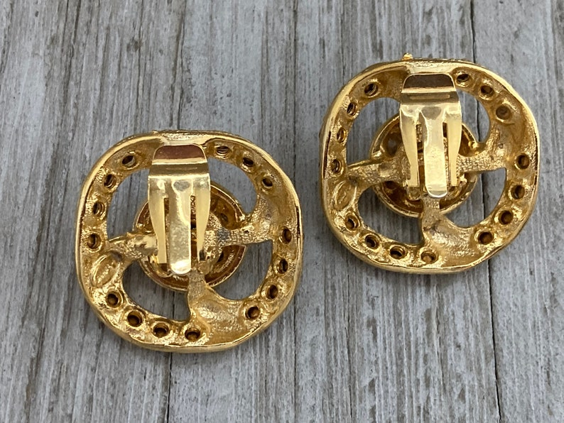 BIJOUX TERNER New Old Stock Vintage 1980/'s Gold Classic  Statement Clip Earrings With Rhinestones