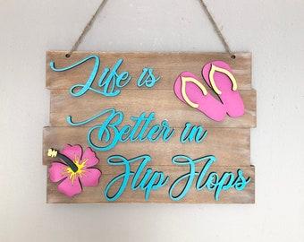Flip Flop Decor, Summer Sign, Summer, Hostess Gift,