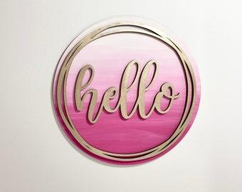 Hello Wood Sign, Wood Signs, Door Hanger, Housewarming Gift, Gift for Her
