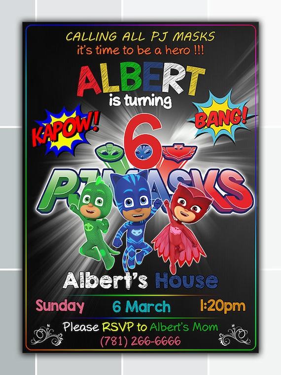 PJ Mask Birthday Invitation Party Printable