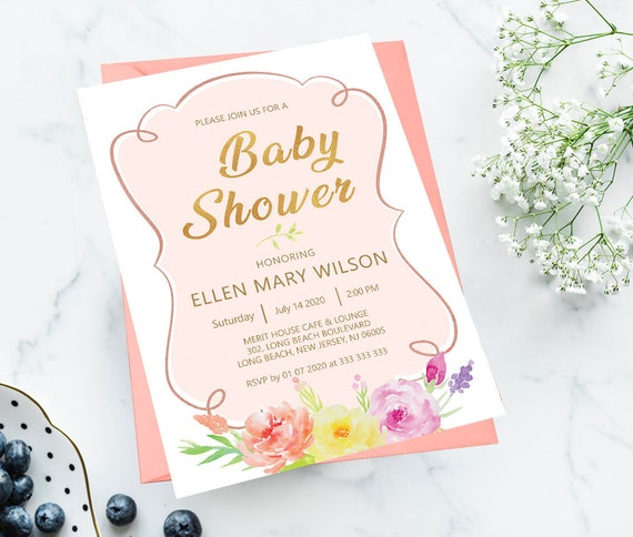Gold Floral Baby Shower Invitation Template Floral Pink Etsy