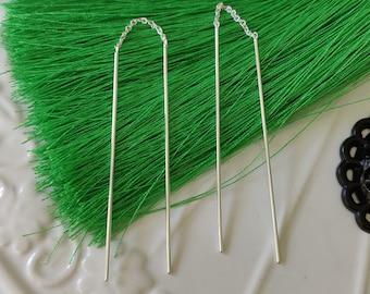 925 Sterling Silver Sticks Pull Through Threader Earrings