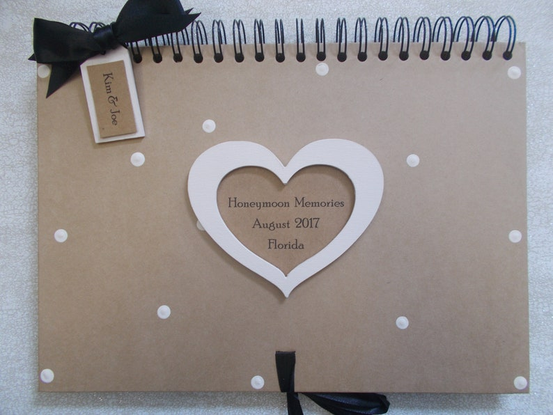 Personalised Vintage Heart Shabby Chic Honeymoon Memories Memory Scrapbook Album Gift A4 Size 40 Pages