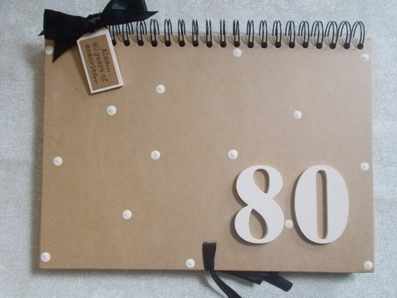 PERSONALISED 80TH BIRTHDAY GUEST BOOK SCRAPBOOK MEMORY ALBUM GIFT MULTI USE