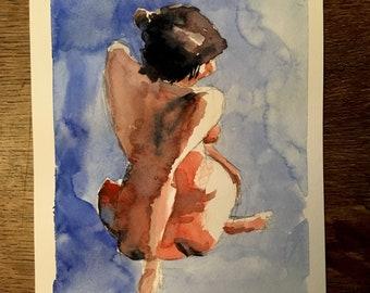 Figure study, watercolor