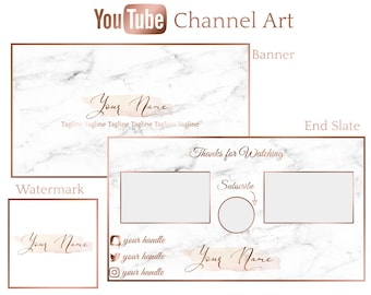 f62f511342df1 Pre-Made Rose Gold Marble Youtube Channel Art