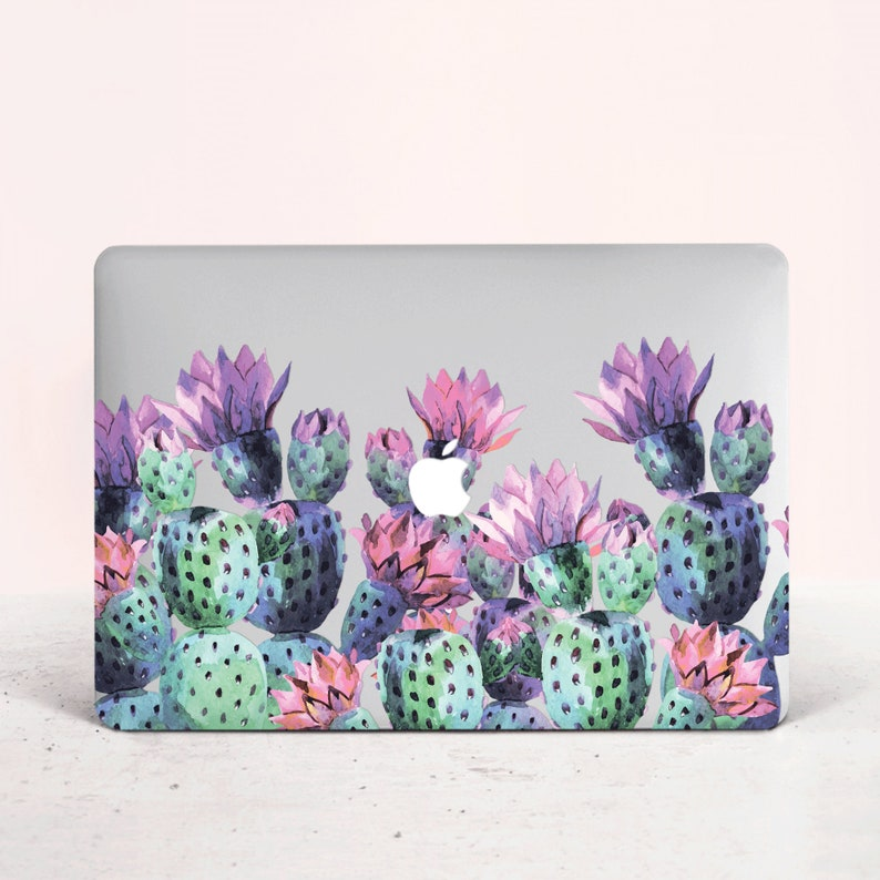 Cactus Succulent Floral Macbook Pro 13 15 Retina Air 13 Top Bottom Printed Case