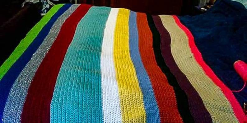 Multi-Colored Single Crochet Queen Size Afghan Blanket Handmade Very Warm