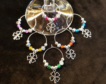 Four Leaf Clover Wine Ring Glass Charms