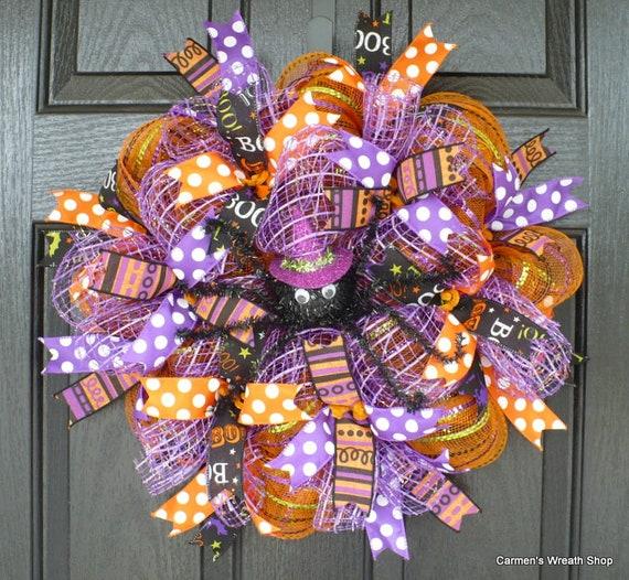 94e0549a3c68f Halloween SPIDER Wreath   Orange Black Purple Deco Mesh