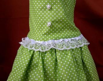 Green/White Polka Dots