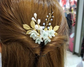 Pearl Hair Pin Styled Gold Painted Hair Pin
