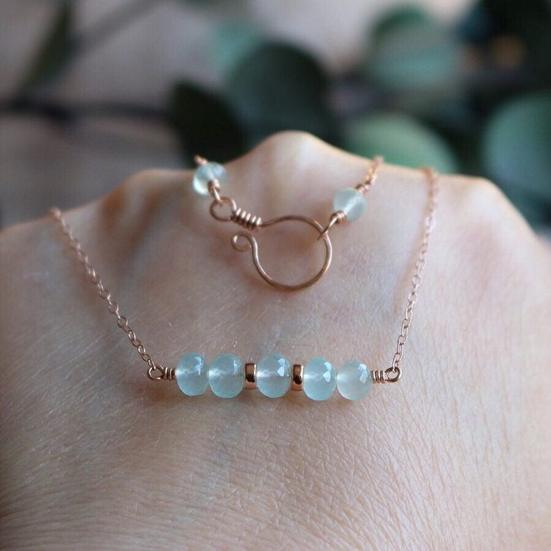 Rose Gold Necklace Gemstone Jewellery Aqua Chalcedony Aqua Chalcedony 14k Rose Gold Filled Bar Necklace Gemstone Necklace Gift for Her