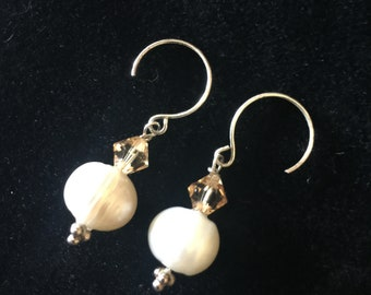 Sterling silver Swarovski crystal and freshwater pearl earrings