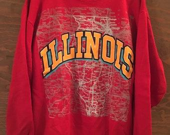 3f0dabcc0 Vintage 80s Illinois State Map Travel Destination 1980s Crewneck Red  Sweatshirt    vintage the Prairie State    vintage jumper Large