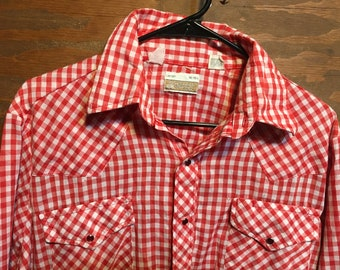 1c2a3449 Vintage Sears Western Wear Plaid Rockabilly Western Pearl Snap Button Down  Short Sleeve shirt // vintage clothing western shirt Large