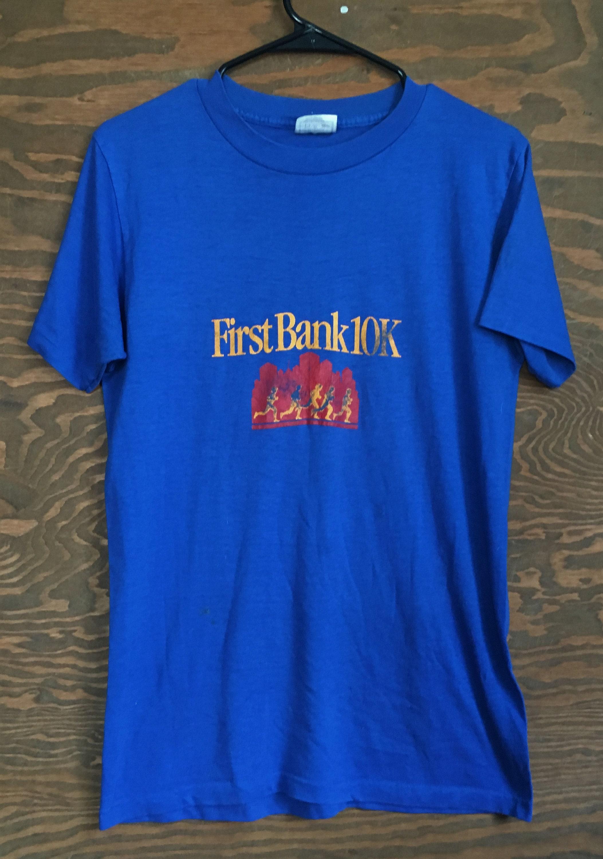 80s Tops, Shirts, T-shirts, Blouse   90s T-shirts Vintage First Bank 10K Run Racing Marathon 1980S Blue Tee Tees T Shirt  80S Running Tshirt Large $24.00 AT vintagedancer.com
