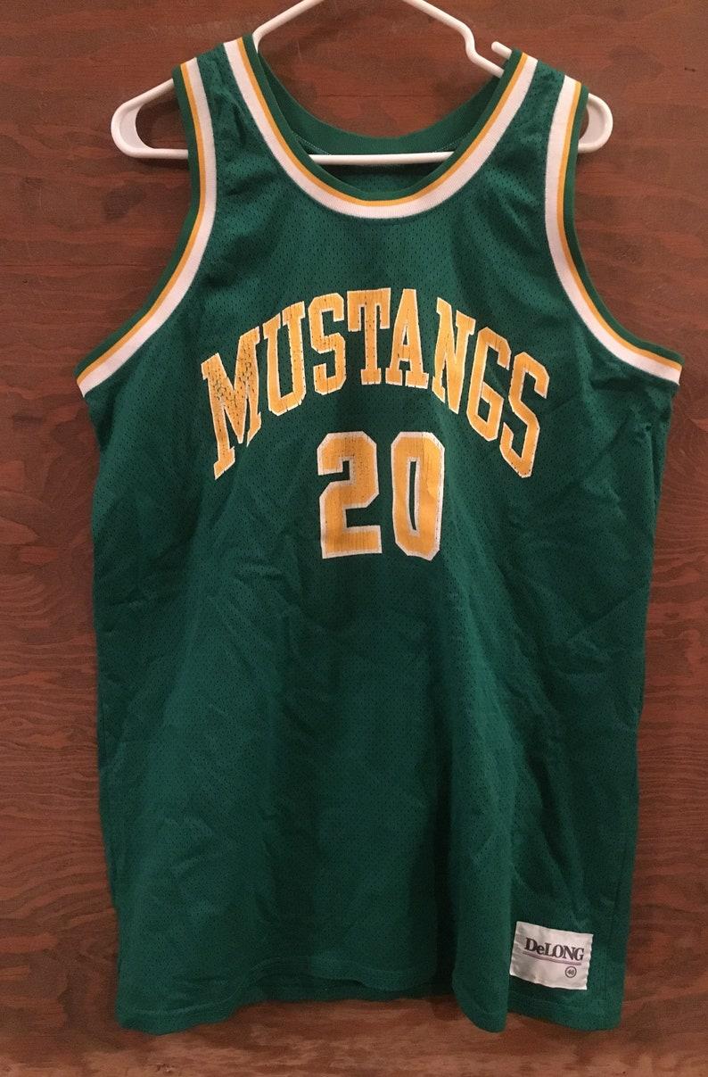 hot sale online b0c2b 8bf72 Vintage 80s Mustangs #20 Club Basketball Jersey / vintage basketball sports  jersey / vintage 80s jersey Size 46