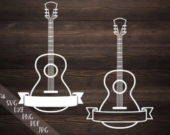 Guitar Circle Monogram Frame Sign With Musical Notes Svg Cut Etsy