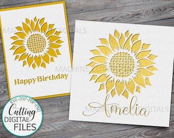 Birthday card svg, Sunflower card svg, sunflower paper cut svg, Cricut card, cut out cards svg, laser cut file, papercut svg, cards uk