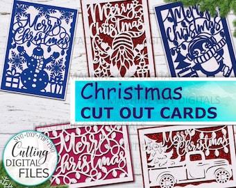 Christmas cards set svg, Christmas cards bundle, Merry Christmas card svg, papercut svg, laser cut template, cricut cards, cut out card svg