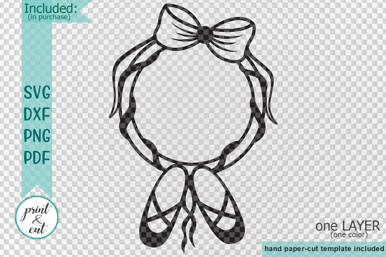 ballet shoes svg, ballerina svg, round monogram svg, frame for name, svg file, cut out, empty circle, dxf, pdf, for baby girl sv