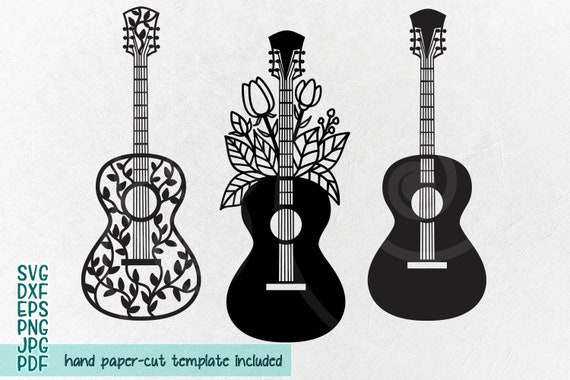 Floral Guitar Svg Papercutting Template Laser Cutting Etsy