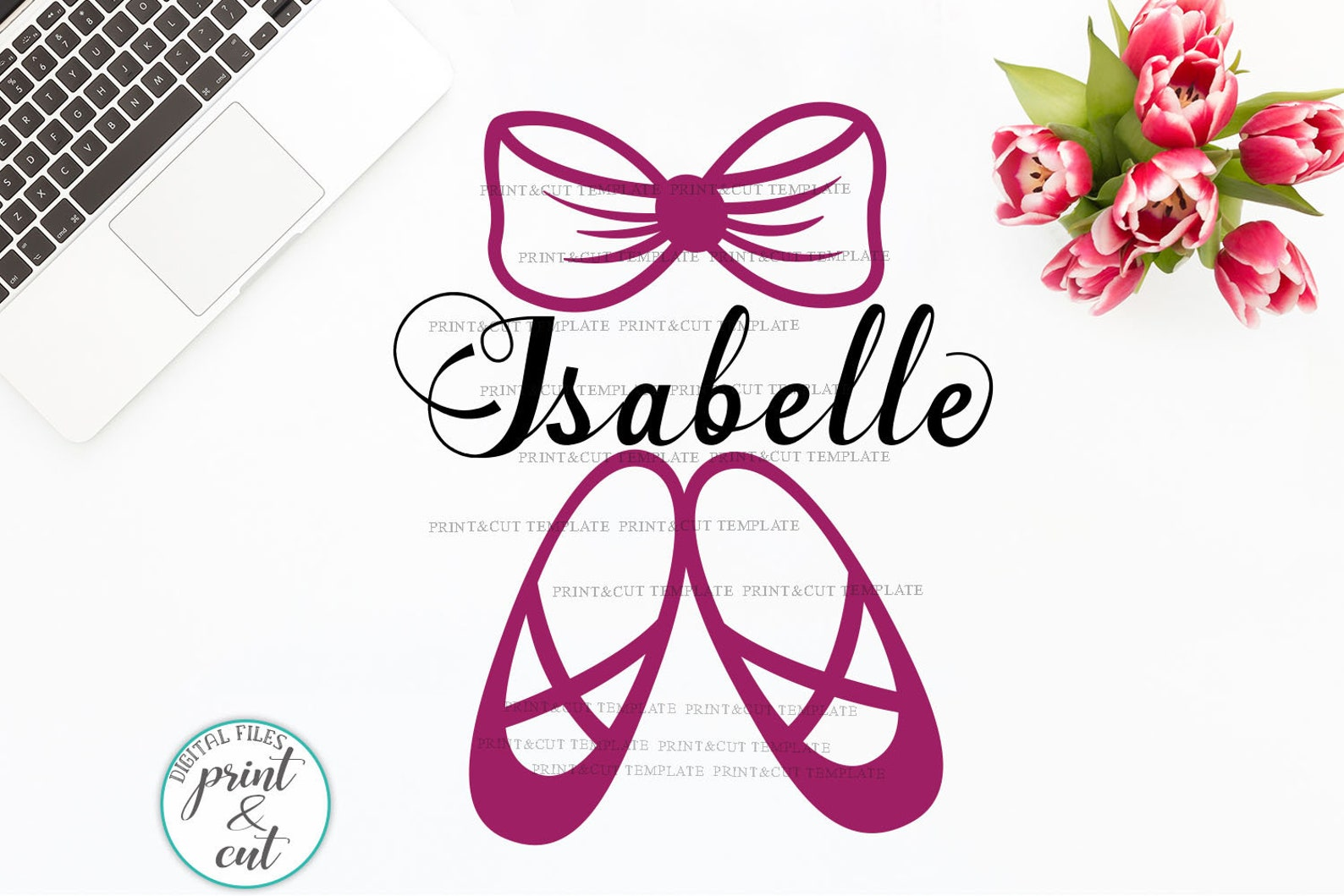 ballet shoes monogram svg, bow svg, ballerina svg, split monogram svg, cricut file, silhouette digital, dance svg, frame, dancer