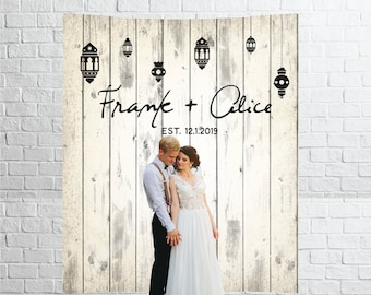Custom Backdrop Decorations - Photo Booth Backdrops - Personalized Bridal Shower & Wedding Banner - Customized Reception Sign Rustic Wood