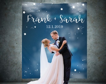 Custom Backdrop Decorations - Photo Booth Backdrops - Personalized Bridal Shower & Wedding Banner - Customized Reception Sign - Stars clouds