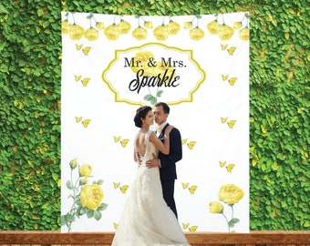 Yellow Flowers Wedding Backdrop, Custom Photo Booth, Personalized Bridal Shower Banner, Customized Reception Sign, Spring Wedding Decoration