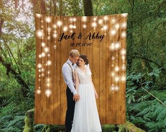 Rustic Wedding Backdrop, Custom Wedding Backdrop, Photo Booth, Personalized Bridal Shower Banner, Customized Reception Sign, Boho Decoration