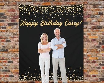 Custom Backdrop Decorations - Photo Booth Backdrops - Personalized Bridal Shower & Wedding Banner - Customized Reception Sign Gold Confetti