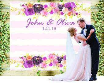 Custom Backdrop Decorations - Photo Booth Backdrops - Personalized Bridal Shower & Wedding Banner - Customized Reception Pink Floral Sign