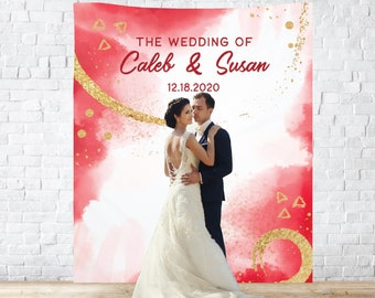 Custom Backdrop Decorations, Red Gold Abstract Photo Booth Backdrops, Personalized Bridal Shower & Wedding Banner, Customized Reception Sign