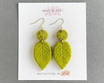 Olive leaf clay earrings, polymer clay statement earrings, green leaf earrings, floral earrings, unique boho earrings, leaf drop earrings