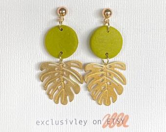 Gold leaf earrings, chartreuse earrings, monstera earrings, statement earrings, unique boho earrings, floral earrings, leaf drop earrings