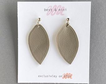 Leather leaf earrings, taupe leather earrings, geometric earrings, grey leather earrings, statement earrings, taupe floral earrings