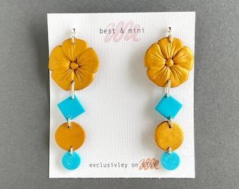 Gold flower earrings, turquoise gold earrings, unique boho earring, statement clay earrings, design earrings, geometric polymer clay earring
