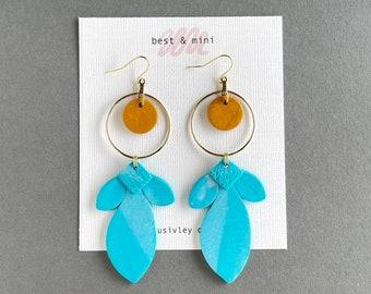 Turquoise earrings, turquoise clay earrings, turquoise gold earring, statement earrings, bold earrings, design clay earrings, floral earring