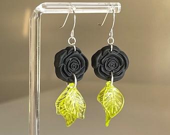 Rose earrings, floral earrings, polymer clay earrings, unique boho earrings, statement earrings, petal flower earrings, black flower earring