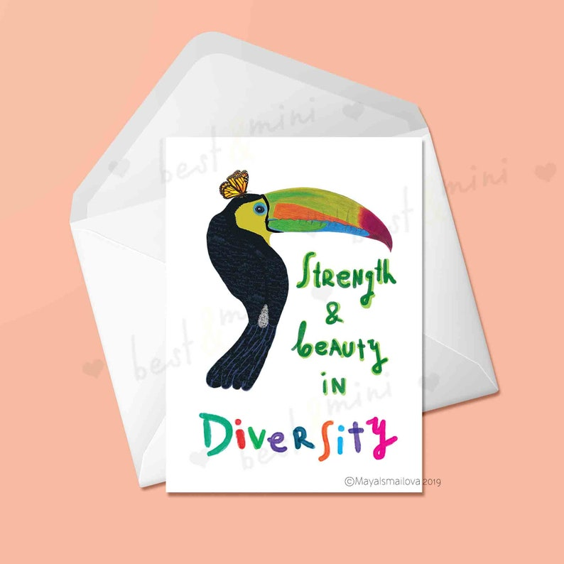 Cards For Friends Inspirational Cards Strength And Beauty In Diversity Greeting Card Toucan Illustration Coworker Gift Inspiring Cards